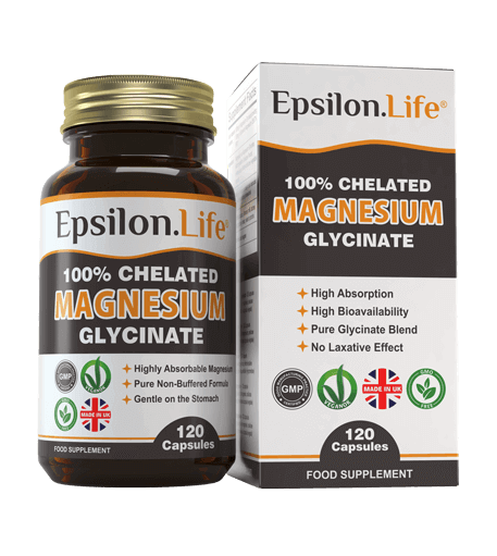 magnesium bysglyincate capsules from epsilon life 100% chelated magnesium
